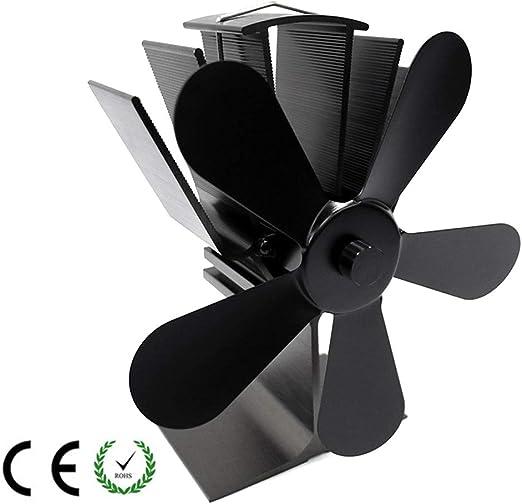 HLDUYIN Ventiladores para Chimeneas Estufa De Leña Calor Ventilador Estufa De Leña Ventilador para Madera Quemador De Troncos Ultra Silencioso Aumenta 40% Más Aire Caliente Que 4 Blade,Black: Amazon.es: Hogar