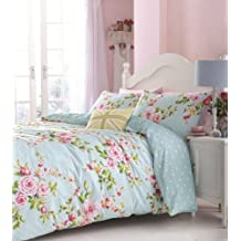 SUPERB COTTON QUEEN(UK KING SIZE) PINK BLUE ROSE FLORAL REVERSIBLE SHABBY CHIC COMFORTER COVER SET