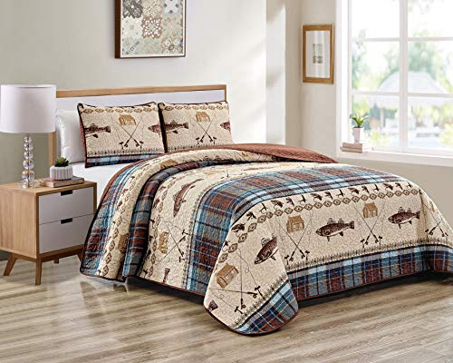 River Fly Fishing Themed Rustic Cabin Lodge Quilt Stitched Bedspread Bedding Set with Fishing Rods Lure with Southwestern Tartan Check Plaid Tweed Patterns Blue Brown - River Lodge (Full/Queen) (Cabin Bedspread)