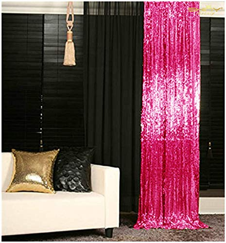 Sequin Curtains 2 Panels Fuchsia 2FTx8FT Sequin Photo Backdrop Hot Pink Sequin Backdrop Curtain Pack of 2~1011E]()