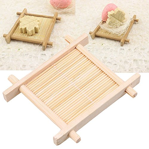 (Agordo 1x Wonderful Natural Bamboo Soap Dish Storage Holder Bath Shower Plates Bathroom)