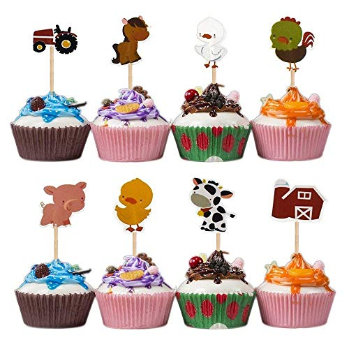 Mity Rain 48Pcs Farm Animals Cupcake Topper Picks,Cake Picks Decoration for Baby Shower Birthday Party Favors,Cow,Chickens,Ducklings,Pigs,Horses,Tractors for $<!--$8.99-->