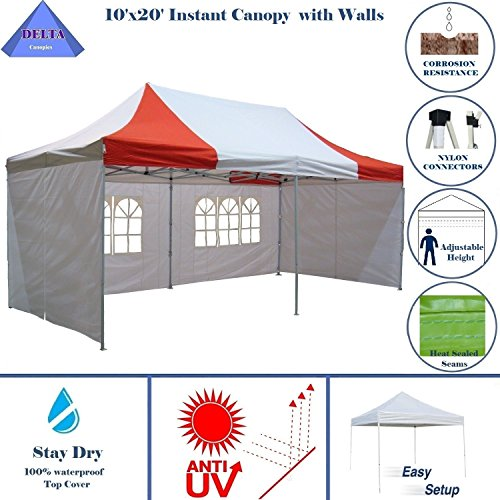 10'x20′ Ez Pop Up Canopy Party Tent Instant Gazebos 100% Waterproof Top with 6 Removable Sides Red/White – E Model By DELTA Canopies For Sale