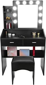 Black Vanity Table Set with LED Lighted Mirror Dimmable & Stool for Small Room, Multiple Shelves & Drawers, Dressing Makeup Table, for Valentine's Day Bedroom Bathroom Teens Girls Women Room Decor