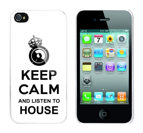 Iphone 4 Case Keep Calm and listen to House Rahmen weiss