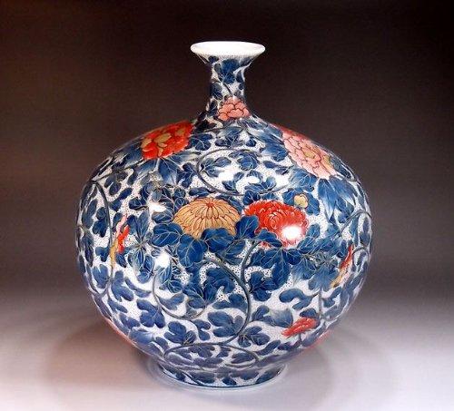 有田焼伊万里焼|花瓶陶器花器壺|贈答品|高級ギフト|贈り物|記念品|プラチナ彩藤井錦彩 B00HPM7HOS