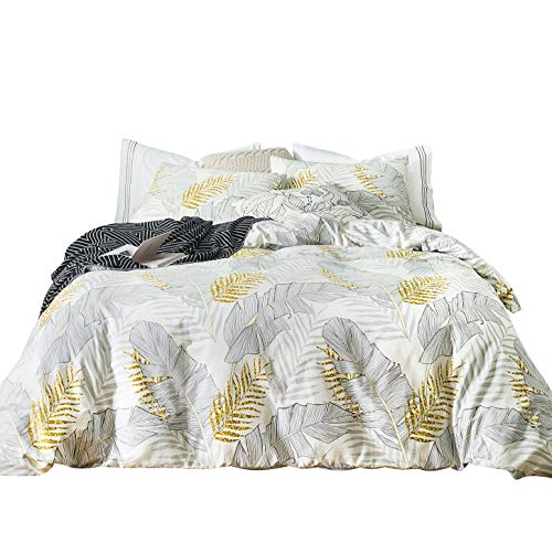 SUSYBAO 3 Pieces Duvet Cover Set 100% Natural Cotton White Queen Size Gold Botanical Bedding with Zipper Ties 1 Grey Tropical Leaves Print Duvet Cover 2 Pillowcases Hotel Quality Soft Breathable