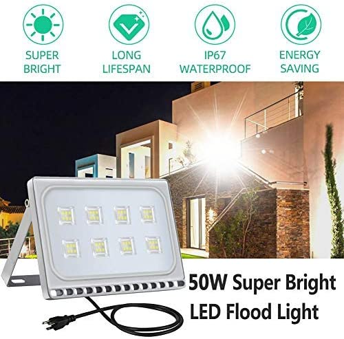 50W LED Flood Light, Catinbow 5000lm Outdoor Super Bright Security Lights Waterproof IP67 Cold White 6500K Work Lights with US-3 Plug for Garden Yard, Party, Playground, Stadium and Square