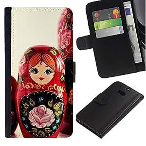 KingStore / Leather Etui en cuir / HTC One M8 / Arte Matryoshka Mu?eca rusa Red Girl Nativo
