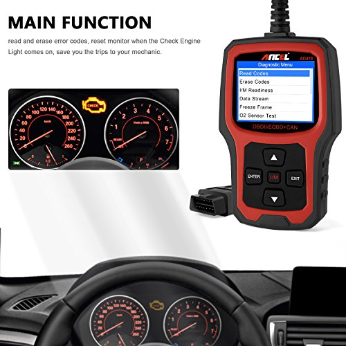 ANCEL AD410 OBD II Vehicle Check Engine Light Scan Tool Automotive Code Reader Auto OBD2 Scanner with I/M Readiness (Black-Red) by ANCEL (Image #1)