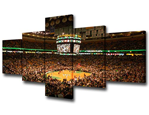 NBA Wall Art for Living Room Boston Celtics Pictures Boston TD Banknorth Garden Arena Paintings 5 Pcs Canvas Artwork Home Decor,Gallery-wrapped Stretched Ready to Hang Posters and Prints - 50''Wx24''H from TUMOVO