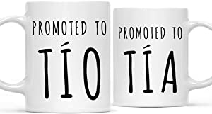 Andaz Press Spanish Baby Pregnancy Announcement 11oz. Coffee Mug Gift, Promoted to Tía, Promoted to Tío, 2-Pack, Newborn New Mommy Daddy To Be Novelty Gift Idea For New Parents Pregnancy Suprise