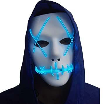 Buy Halloween Mask Cosplay LED Glow Scary EL Wire Light Up Grin ...