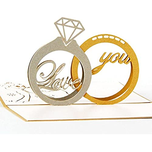 IShareCards Papercraft Handmade 3D Pop Up Greeting Cards for Valentines,Best Gifts to Express LOVE (Dimond Ring) Sales