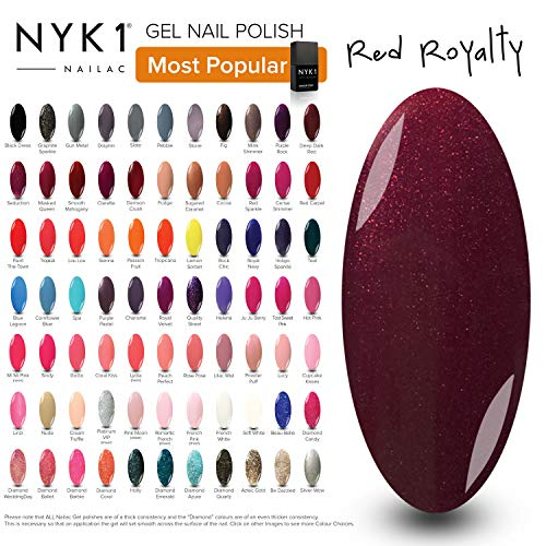 Glitter Led - Red Plum Gel Polish Colour - (Red Royalty) Winter Berries Sparkly Glitter Shimmer UV LED Gel Polish by NYK1 Nail Manicure Pedicure Gel Lamp