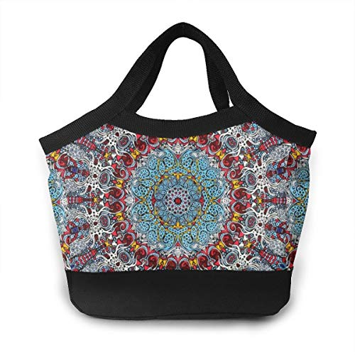 O-X_X-O Waterproof Reusable Lunch Tote Bag Travel/Work/School to-Go Food Containers Lunch Organizer Insulated Lunch Thermal Cooler Bag for Women/Men (Indian Trippy Mandala Floral)