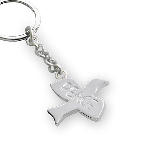 Llavero con diseño de paloma plata y PEACE. Llavero con el ...