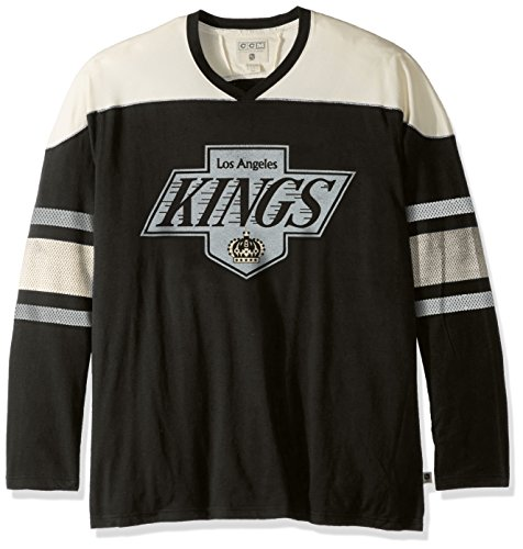 adidas NHL Los Angeles Kings Mens CCM L/S Applique Crewccm L/S Applique Crew, Black, Medium