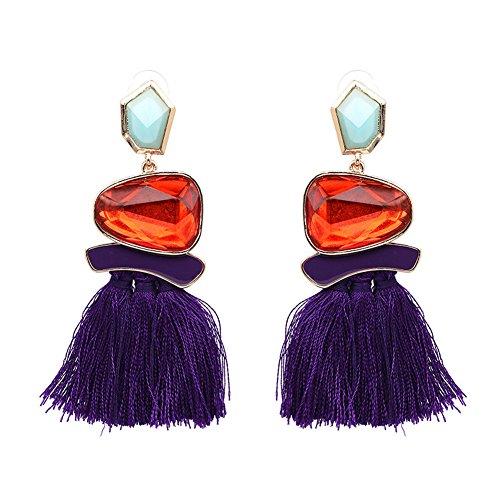 (Tassel Earrings Cute Dangle Crystal Earring Thread Jewelry Bohemian Drop Earrings (Purple))