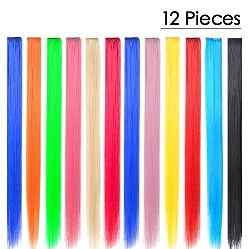 KINGMAS 12 Pieces 24 Inch Colored Party Highlights Clip On In Hair Extension (Neon Hair Extensions)