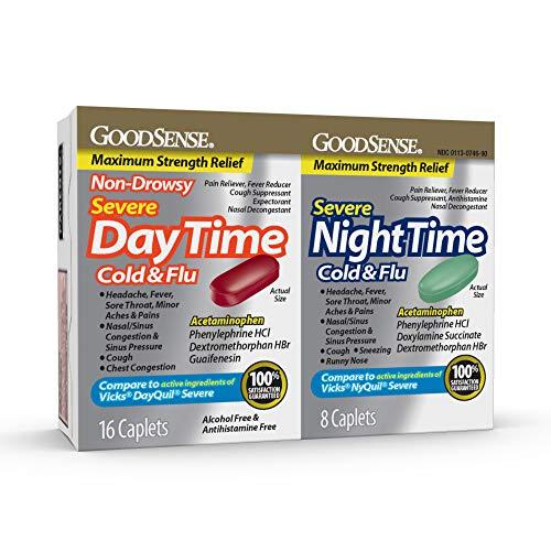 Goodsense Daytime Night-time Severe Cold & Flu Caplets, 24 Count ()