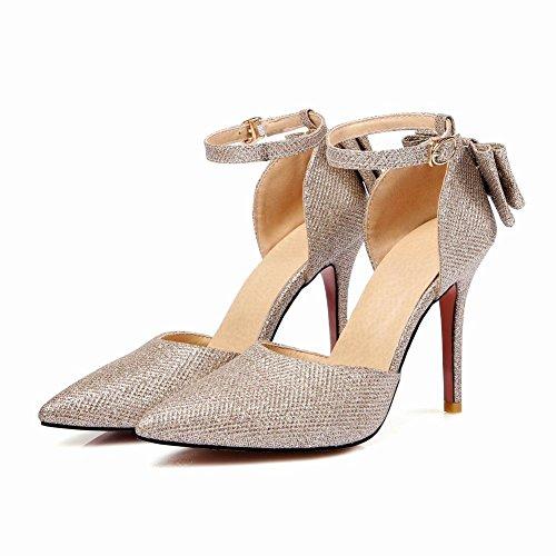 Carolbar Women's Bling Bling Sexy Bow High Heel Stiletto Dress Sandals Gold 9u6eF