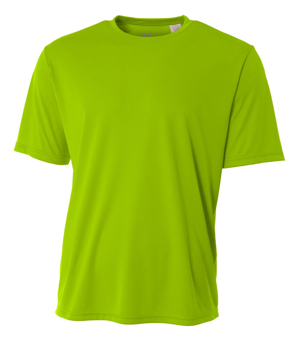 A4 Men's Cooling Performance Crew Short Sleeve T-Shirt, Lime, Medium by A4