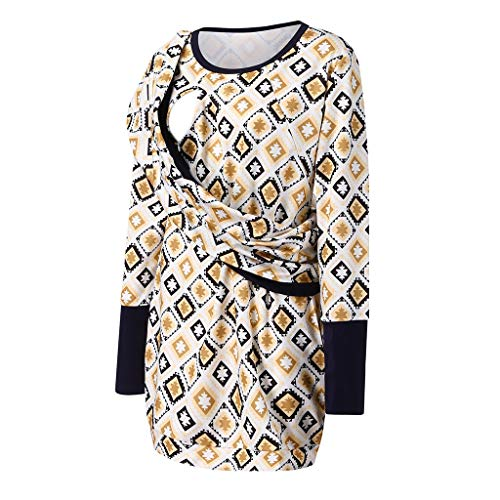 Maternity 2-1 Nursing Hoodie Midi Dress,Crytech Pregnant Women Long Sleeve Kangaroo Hooded Pullover Dress with Baby Carrier Pocket Pregnancy Babywearing Winter Fall Clothes (X-Large, Khaki)