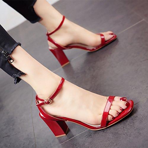 e comodi caviglia lady semplice Moda sandali a alti square dei tallone piedi estate tacchi dita YMFIE con OYBRx7qnO