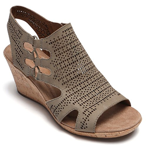 Rockport New Cobb Hill Women's Janna Perf BT Sandal Khaki 7.5 (Summer Fabrics Hill)