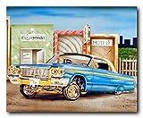 Classic Vintage Car Wall Decor Blue & Gold Lowrider Art Print Poster