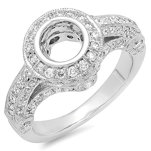 1.00 Carat (ctw) 14K White Gold Round Diamond Bridal Semi Mount Engagement Ring 1 CT (Size 5)