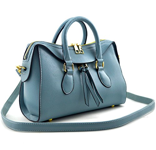 Mn&Sue Stylish Women Top Handle Doctor Purse Satchel Handbag Medium Shoulder Bag (Sky Blue)
