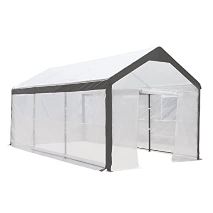 Abba Patio 10 x 20-Feet Large Walk in Fully Enclosed Lawn and Garden  Greenhouse with Windows, White