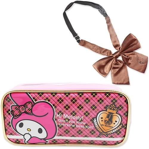 ([My] melody pink TM preppy Ribbon pen case with)