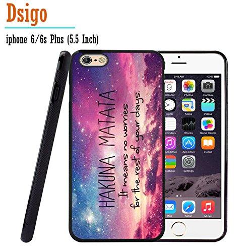 iPhone 6S Plus Case, iPhone 6 Plus Case, Dsigo TPU Black Full Cover Protective Case for New Apple iPhone 6/6S Plus 5.5 inch - HAKUNA MATATA