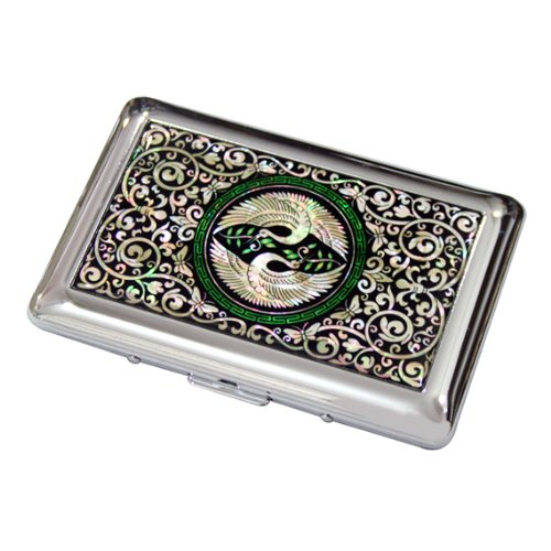 Mother of Pearl Double Crane Bird 14 Cigarette Engraved Metal Steel RFID Blocking Protection Credit Business Card Holder Case Storage Box (Case Box Holder Cigarette)