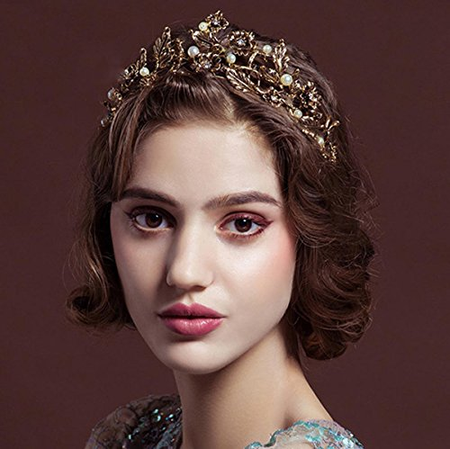 (LittleB Baroque jewelry Crown Flowers Leaves Tiaras for women and girls apply to wedding party)