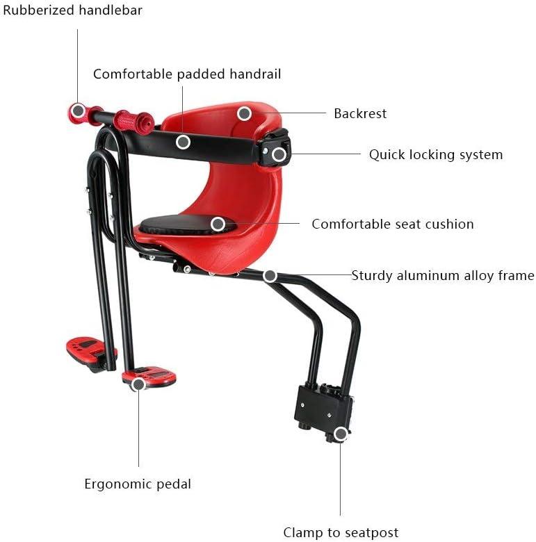Sedile per Bicicletta Completo per Seggiolino Semoic Seggiolino per Bicicletta per Bambini Marsupio di Sicurezza per Bambini Sedile Anteriore Cuscino per Sella con Pedali dello Schienale