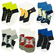 6 Pairs 0-10 month Baby Newborn Ankle Sock Toddler Cute Crew Walkers Unisex Bootie Infant Socks (Mixed style 1)