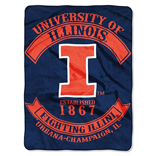 Northwest Officially Licensed NCAA Illinois Illini Rebel Plush Raschel Throw Blanket, 60