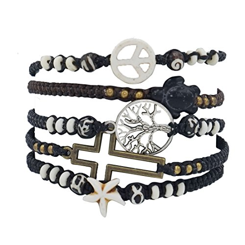 Mens Womens Leather Bracelets Mixed Wooden Beaded Braided Charm Cuff, Adjustable Set of 5 (Metal set)