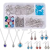 SUNNYCLUE 1 Box DIY 9PCS Hollow Bead Cage Pendant Necklace Earrings Jewelry Making Kits Aromatherapy Essential Oil Diffuser Locket Cage Charms & Lava Chakra Gemstone Beads & Chain & Earring Hooks