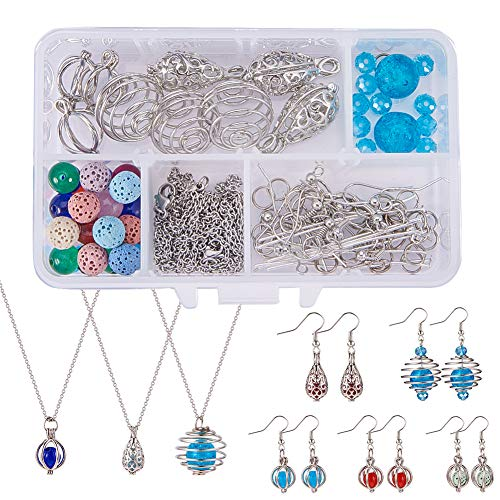 SUNNYCLUE 1 Box DIY 9PCS Hollow Bead Cage Pendant Necklace Earrings Jewelry Making Kits Aromatherapy Essential Oil Diffuser Locket Cage Charms & Lava Chakra Gemstone Beads & Chain & Earring Hooks ()