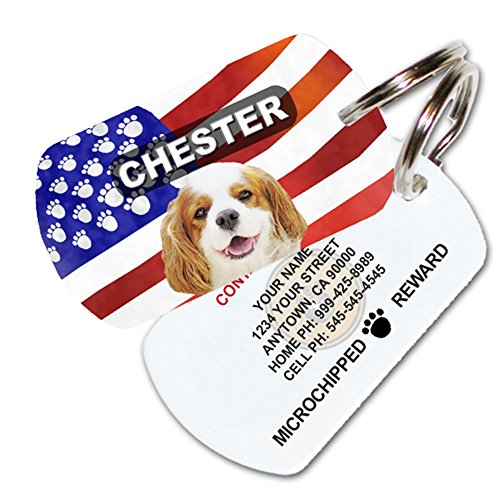 American Pet Tags - Patriotic American Flag Custom Pet ID Tag - Personalized Dog Tags For Dogs - Pet ID Tags For Cats - With Pet Photo