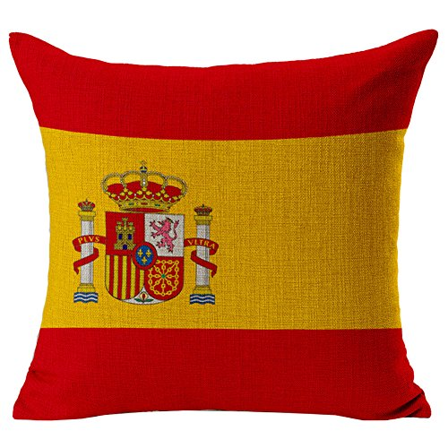 Ababalaya Home Square Cotton Linen Sofa Cushion Covers Decorative Pillow Cases American Canada Flag Zippered Custom Throw Pillow Cover 18 X 18 Inch (Spain) by Ababalaya