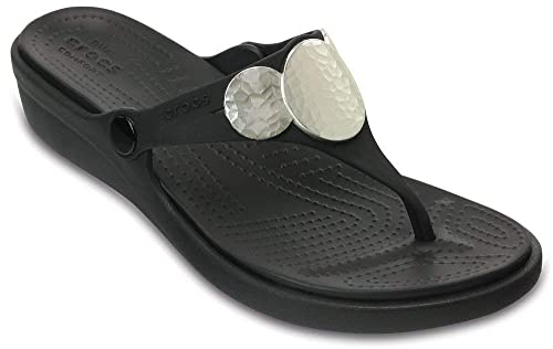 online store de470 b2664 Crocs Women's Sanrah Embellished Flip Wedge