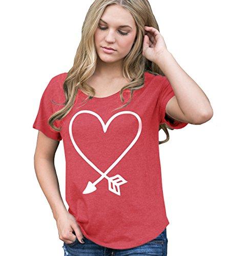 Superluxe Clothing Womens Valentines Day Arrow Heart Tri-Blend Dolman T-Shirt
