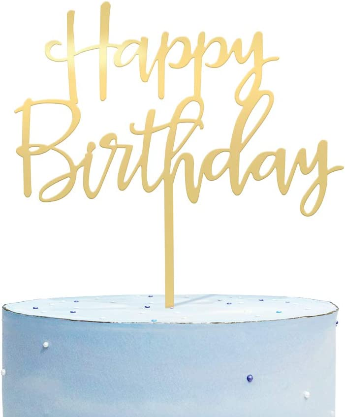 Happy Birthday Cake Topper, Mirrored Gold Acrylic Durable Versatile Cake Topper, Birthday Cake for Photo Booth Props, Birthday Party Decoration Ideas, Perfect Keepsake for your family and friends
