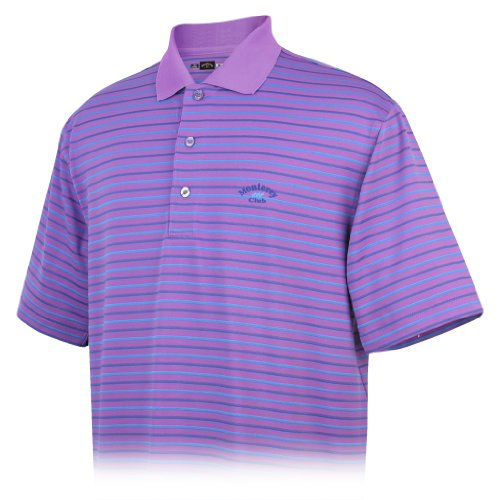 Monterey Club Men's Dry Swing Jacquard Short Sleeve Shirt #1613(Iris Orchid/Arctic Blue,X-Large)